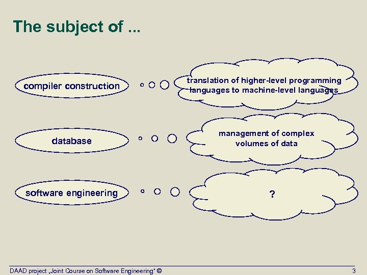 The subject of. . . compiler construction translation of higher-level programming languages to machine-level