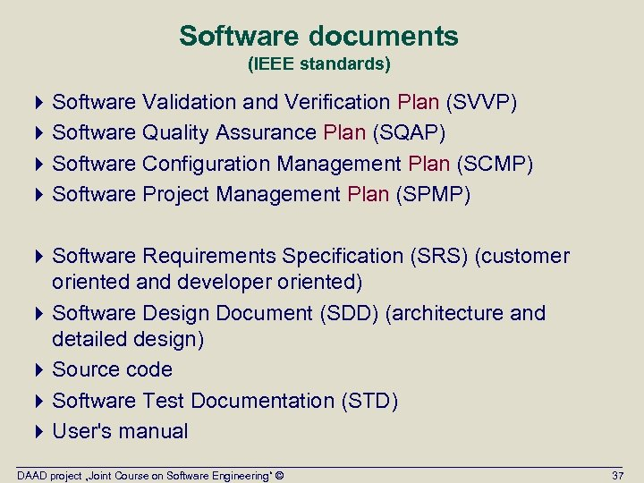 Software documents (IEEE standards) 4 Software Validation and Verification Plan (SVVP) 4 Software Quality