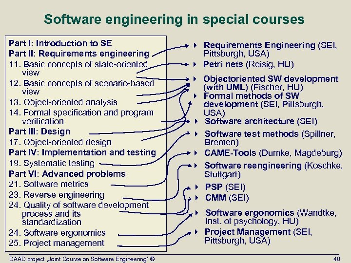 Software engineering in special courses Part I: Introduction to SE Part II: Requirements engineering