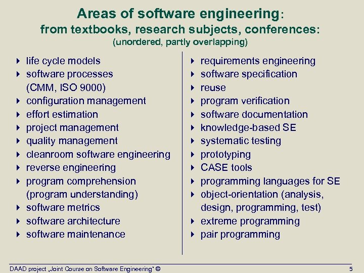 Areas of software engineering: from textbooks, research subjects, conferences: (unordered, partly overlapping) 4 life