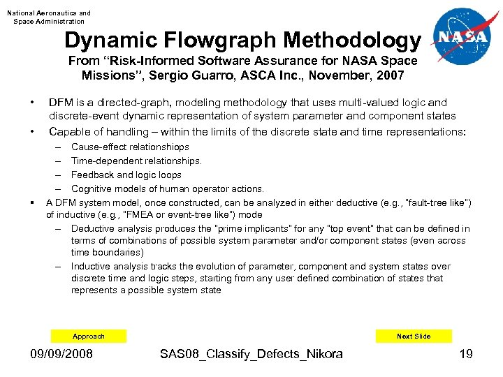 "National Aeronautics and Space Administration Dynamic Flowgraph Methodology From ""Risk-Informed Software Assurance for NASA"