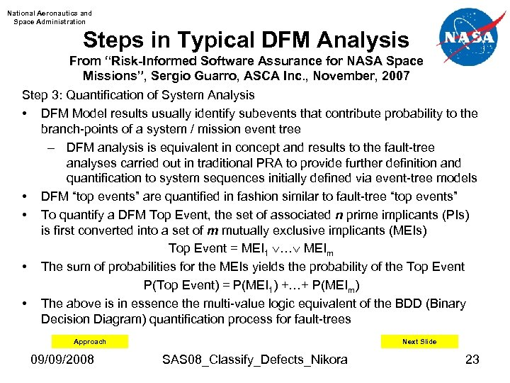 "National Aeronautics and Space Administration Steps in Typical DFM Analysis From ""Risk-Informed Software Assurance"