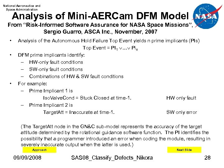 "National Aeronautics and Space Administration Analysis of Mini-AERCam DFM Model From ""Risk-Informed Software Assurance"