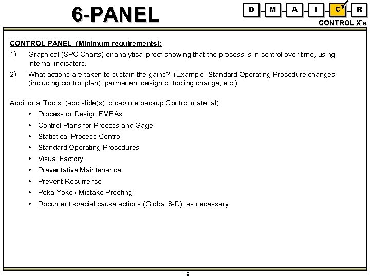 6 -PANEL D M A I C R CONTROL X's CONTROL PANEL (Minimum requirements):