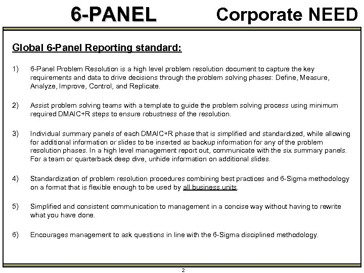 6 -PANEL Corporate NEED Global 6 -Panel Reporting standard: 1) 6 -Panel Problem Resolution