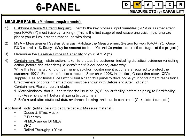 6 -PANEL D M A I C R MEASURE CTQ (y) CAPABILITY MEASURE PANEL