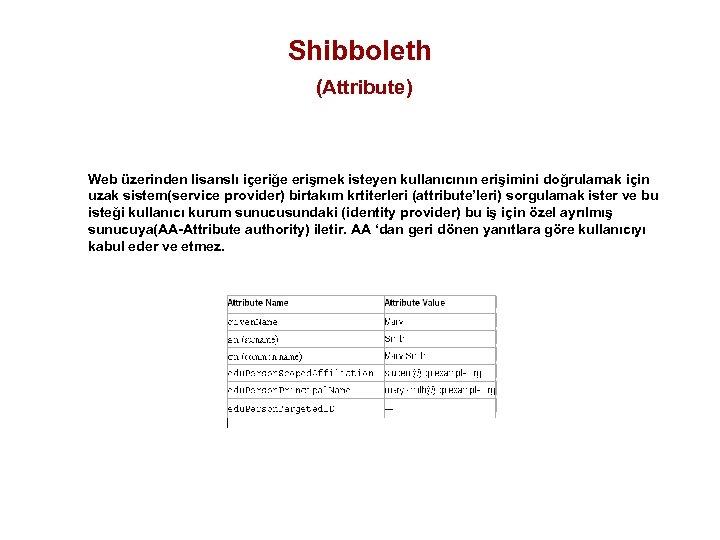Shibboleth (Attribute) Web üzerinden lisanslı içeriğe erişmek isteyen kullanıcının erişimini doğrulamak için uzak sistem(service