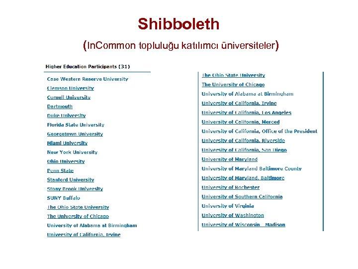 Shibboleth (In. Common topluluğu katılımcı üniversiteler)