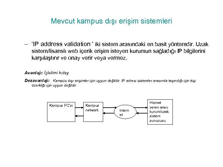 Mevcut kampus dışı erişim sistemleri – 'IP address validation ' iki sistem arasındaki en