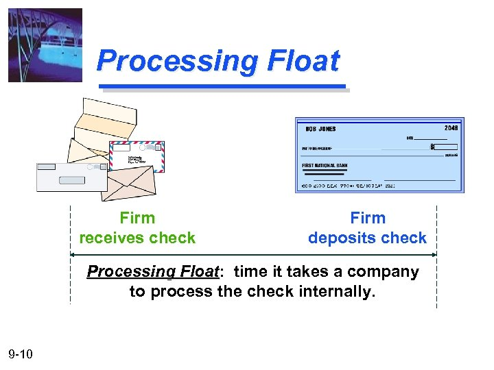 Processing Float Firm receives check Firm deposits check Processing Float: time it takes a