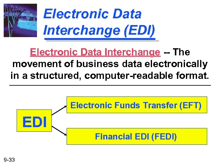 Electronic Data Interchange (EDI) Electronic Data Interchange -- The movement of business data electronically