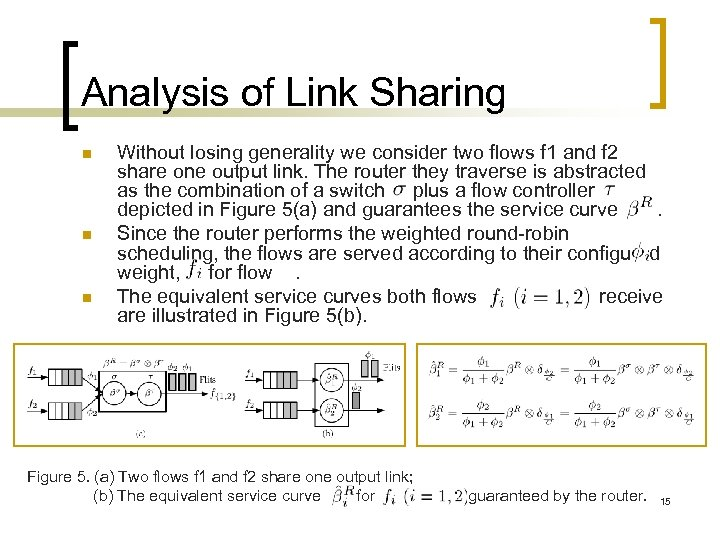 Analysis of Link Sharing n n n Without losing generality we consider two flows