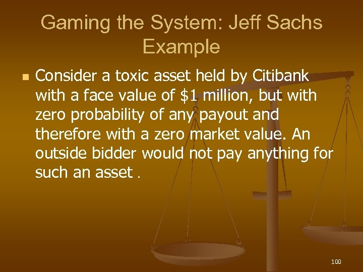 Gaming the System: Jeff Sachs Example n Consider a toxic asset held by Citibank