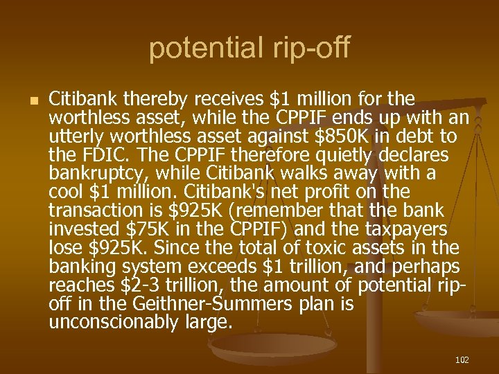 potential rip-off n Citibank thereby receives $1 million for the worthless asset, while the