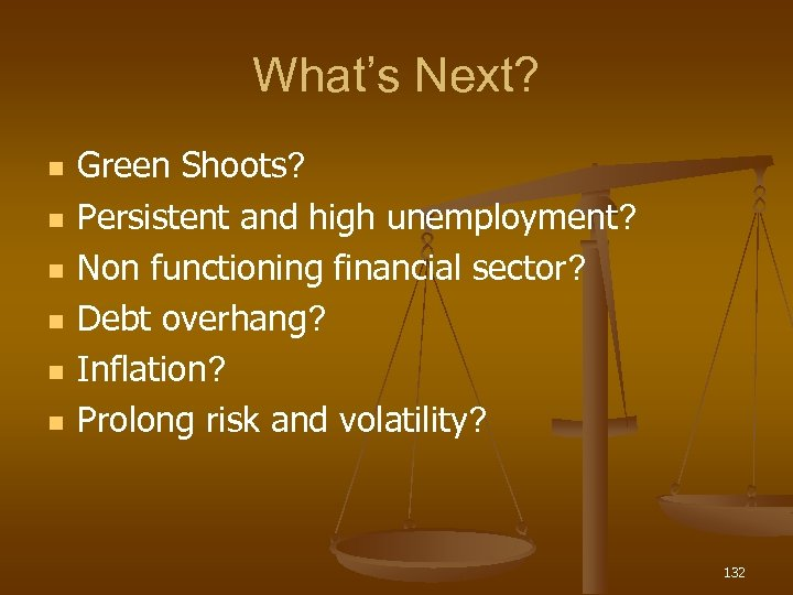 What's Next? n n n Green Shoots? Persistent and high unemployment? Non functioning financial