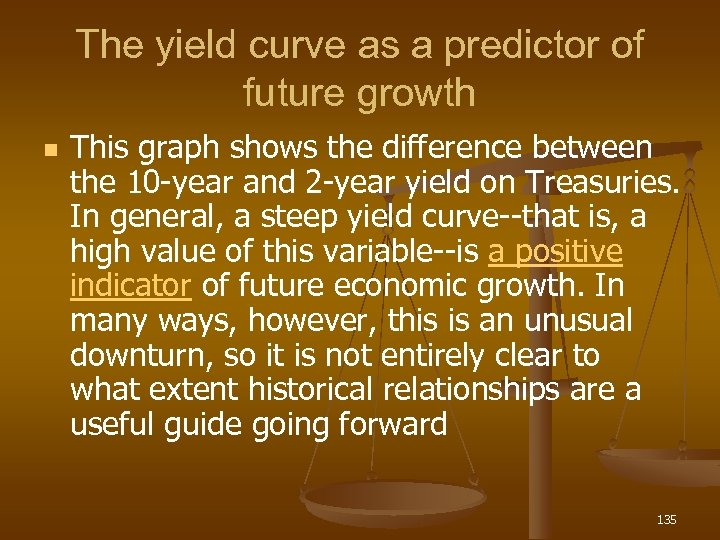 The yield curve as a predictor of future growth n This graph shows the