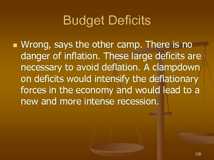 Budget Deficits n Wrong, says the other camp. There is no danger of inflation.