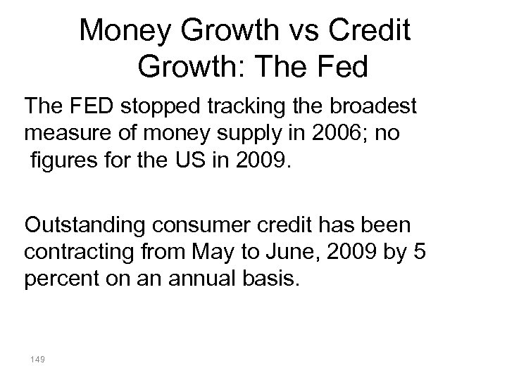 Money Growth vs Credit Growth: The Fed The FED stopped tracking the broadest