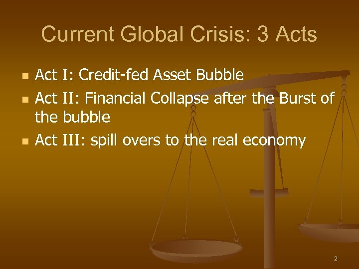 Current Global Crisis: 3 Acts n n n Act I: Credit-fed Asset Bubble Act