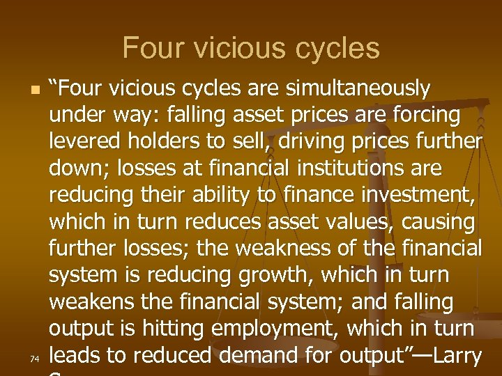 "Four vicious cycles n 74 ""Four vicious cycles are simultaneously under way: falling asset"