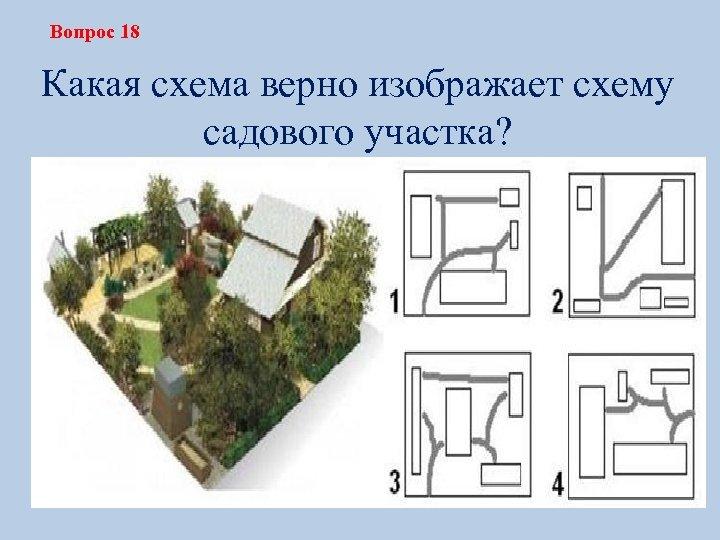 Вопрос 18 Какая схема верно изображает схему садового участка?