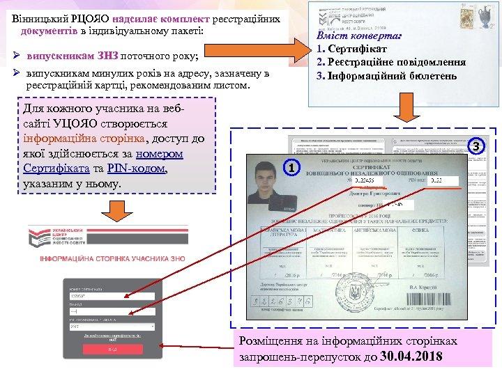 Вінницький РЦОЯО надсилає комплект реєстраційних документів в індивідуальному пакеті: Вміст конверта: 1. Сертифікат 2.