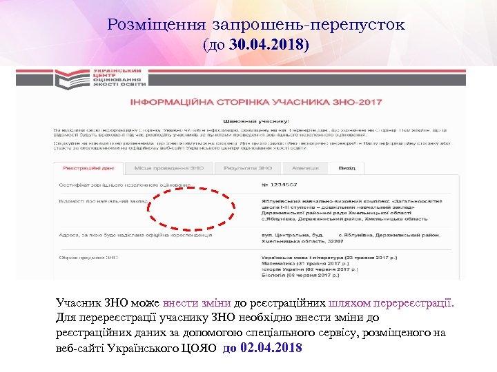 Розміщення запрошень-перепусток (до 30. 04. 2018) Учасник ЗНО може внести зміни до реєстраційних шляхом
