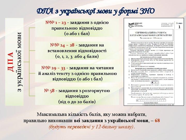 ДПА з української мови у формі ЗНО №№ 1 – 23 - завдання з
