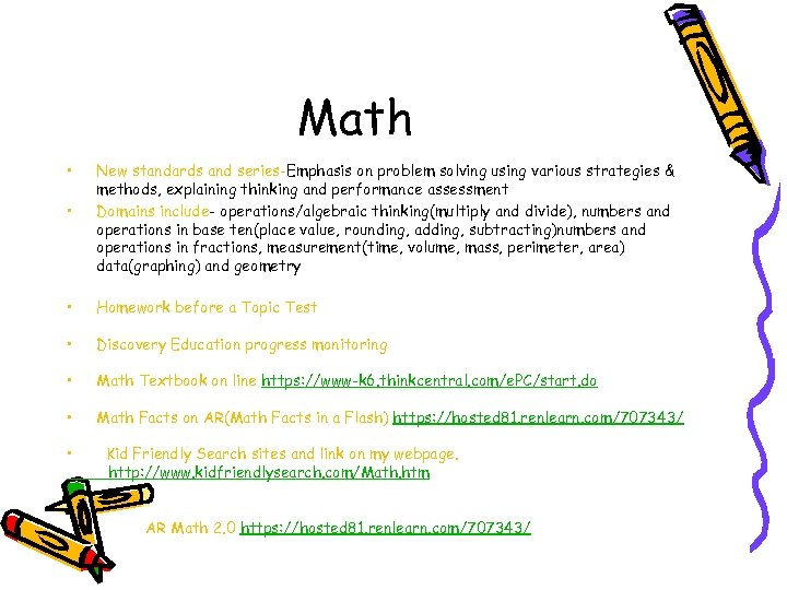 Math • • New standards and series-Emphasis on problem solving using various strategies &