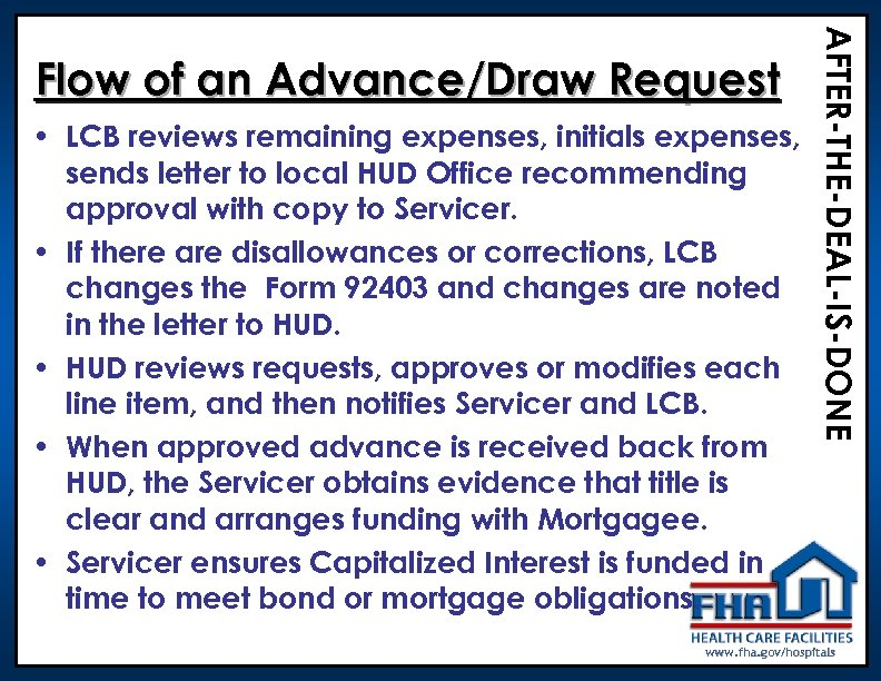 • LCB reviews remaining expenses, initials expenses, sends letter to local HUD Office