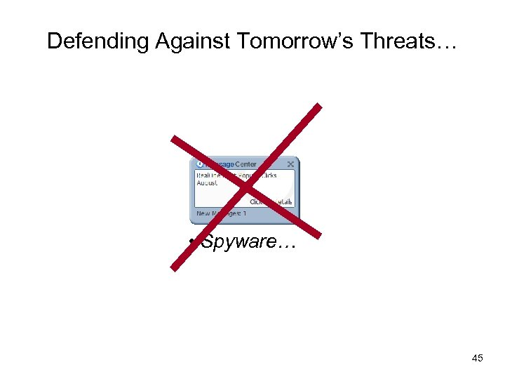 Defending Against Tomorrow's Threats… • Spyware… 45