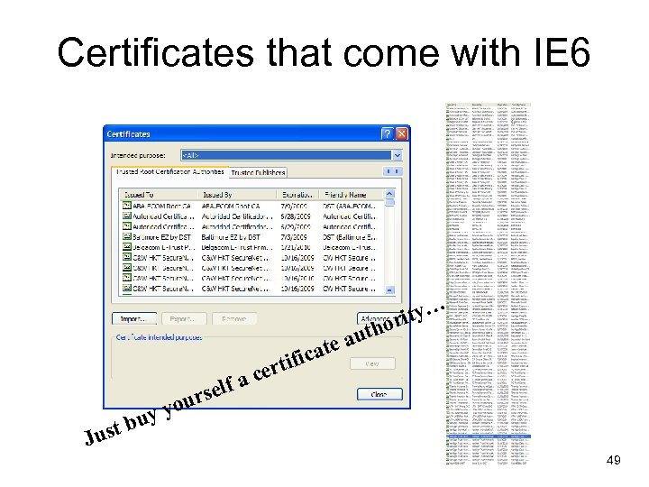 Certificates that come with IE 6 … y orit auth e t a tific