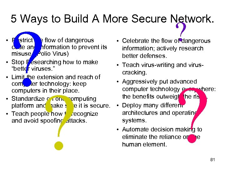 5 Ways to Build A More Secure Network. ? ? • Restrict the flow