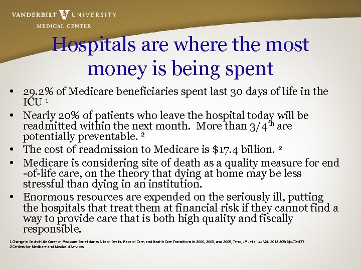 Hospitals are where the most money is being spent • 29. 2% of Medicare