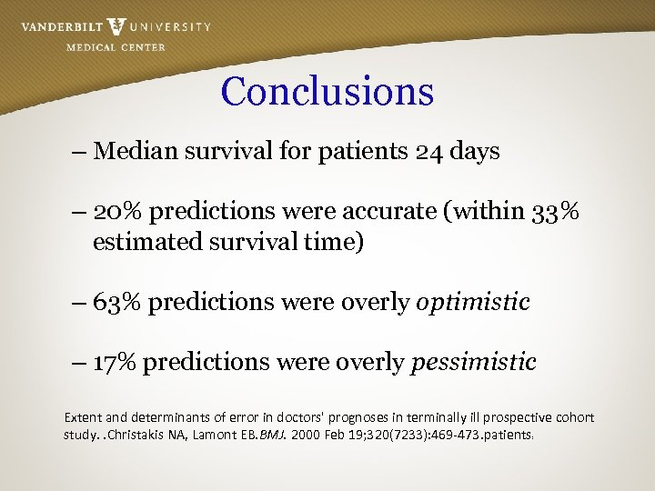 Conclusions – Median survival for patients 24 days – 20% predictions were accurate (within