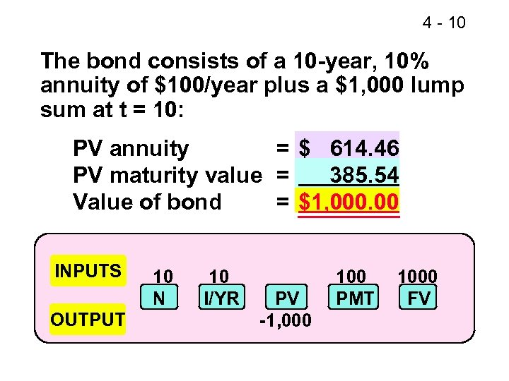 4 - 10 The bond consists of a 10 -year, 10% annuity of $100/year