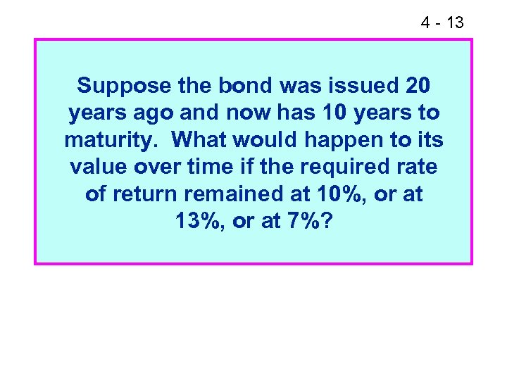 4 - 13 Suppose the bond was issued 20 years ago and now has