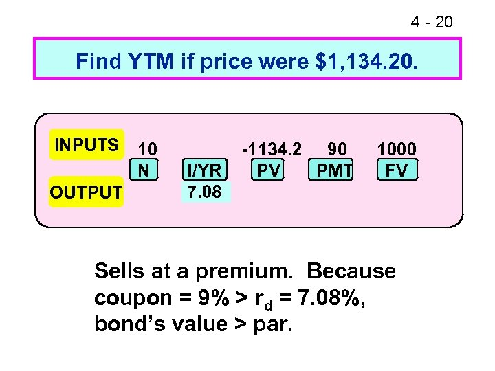 4 - 20 Find YTM if price were $1, 134. 20. INPUTS OUTPUT 10