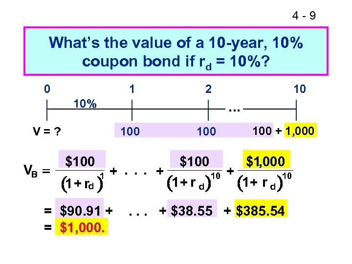 4 -9 What's the value of a 10 -year, 10% coupon bond if rd