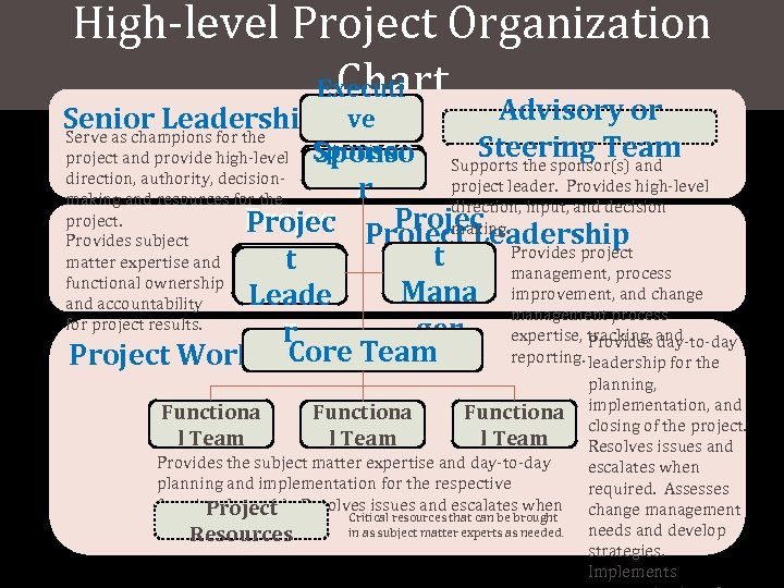 High-level Project Organization Chart Executi Advisory or Senior Leadership ve Serve as champions for