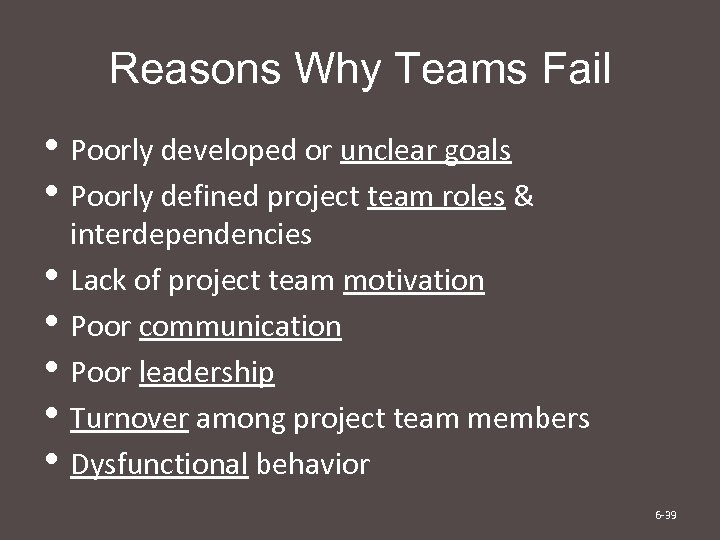 Reasons Why Teams Fail • Poorly developed or unclear goals • Poorly defined project