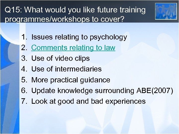 Q 15: What would you like future training programmes/workshops to cover? 1. 2. 3.