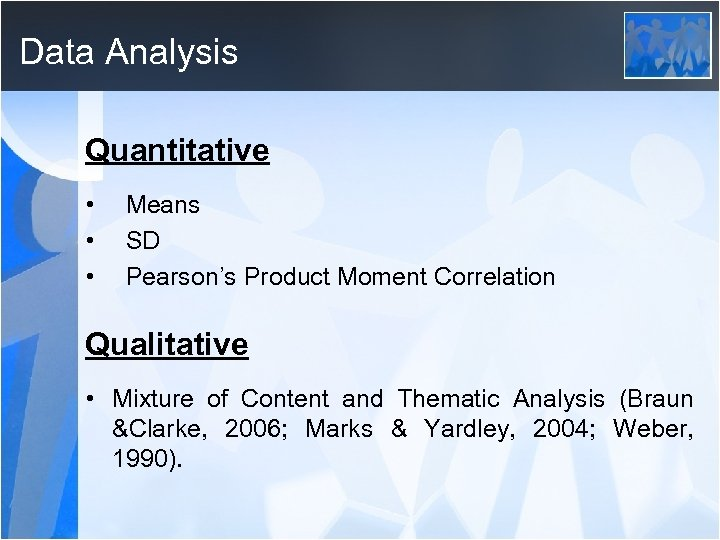 Data Analysis Quantitative • • • Means SD Pearson's Product Moment Correlation Qualitative •