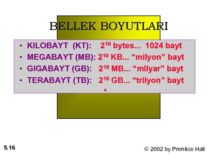 BELLEK BOYUTLARI • • 5. 16 KILOBAYT (KT): 210 bytes. . . 1024 bayt