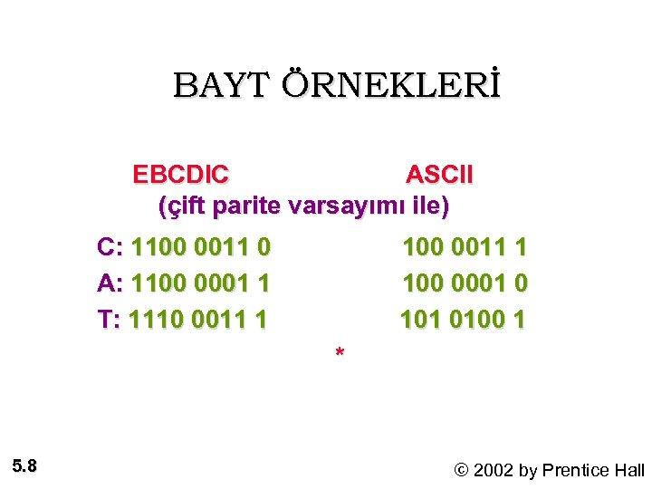 BAYT ÖRNEKLERİ EBCDIC ASCII (çift parite varsayımı ile) C: 1100 0011 0 A: 1100