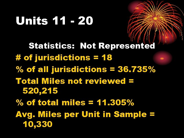 Units 11 - 20 Statistics: Not Represented # of jurisdictions = 18 % of
