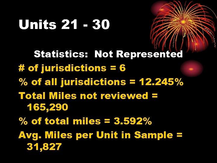 Units 21 - 30 Statistics: Not Represented # of jurisdictions = 6 % of