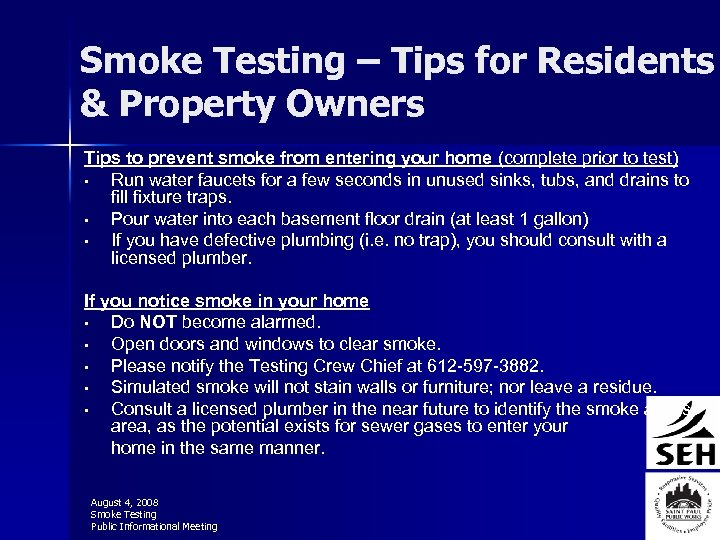 Smoke Testing – Tips for Residents & Property Owners Tips to prevent smoke from