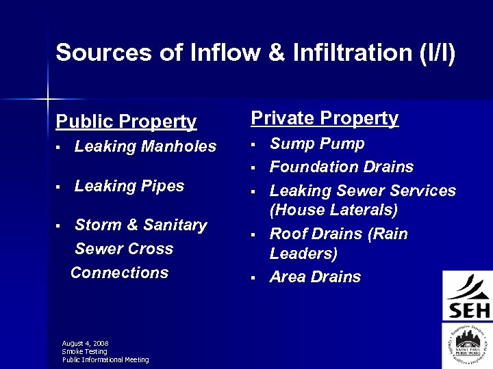 Sources of Inflow & Infiltration (I/I) Public Property § Leaking Manholes Private Property §