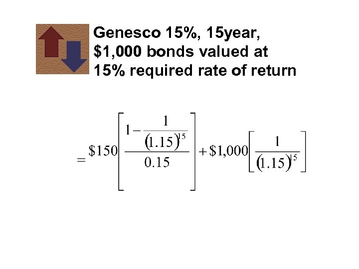 Genesco 15%, 15 year, $1, 000 bonds valued at 15% required rate of return